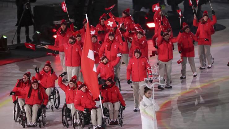 Die Schweizer Delegation an der Eröffnungszeremonie der Paralympics 2018 in PyoengChang