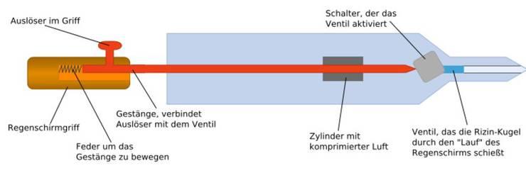 Schema des präparierten Regenschirms.