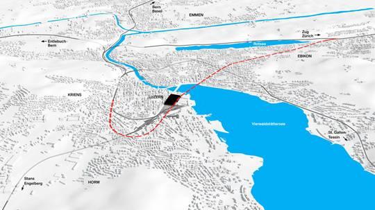 Unter dem See bis nach Ebikon: Die geplante Linienführung im Rahmen des Projekts Durchgangsbahnhof.