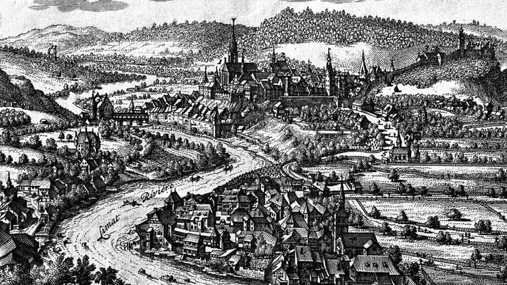 Die Badener Altstadt mit den Grossen und den Kleinen Bädern (l.): Reproduktion des Merianstichs aus dem 17. Jahrhundert.