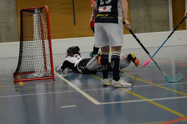 Tor für Unihockey Basel Regio: Zugerlands Torhüterin Anita Niederhauser (am Boden) ist geschlagen.