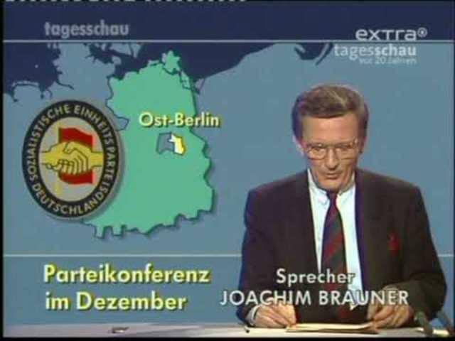 Tagesschau-Ausgabe zum Mauerfall vom 9. November 1989