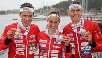 Hubmann, Wyder und Kyburz mit ihrem Edelmetall.