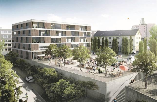 Etwa so könnte der Bärenplatz in Zukunft aussehen. Details wie Platz- und Fassadengestaltungsind aber noch völlig offen. Ganz links (hinten) im Bild sieht man einen Teildes «Kaiserpark», knapp nicht mehr drauf ist rechts der Gemeindesaal. Hinter dem Neubauverläuft die Mitteldorfstrasse.