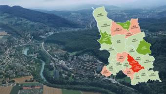 Baden ist mit 144'000 Einwohnern der mit Abstand grösste aller Bezirke, jeder fünfte Aargauer hat hier seinen Wohnsitz.