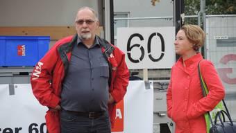 Gewerkschafter wie Kurt Emmenegger und Arbeit-Aargau-Präsidentin Irène Kälin sehen wenig Grund für Optimismus in der Aargauer Industrie.