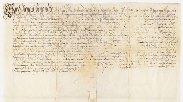 Diese Schuldverschreibung von 1666 befindet sich im Archiv der Gemeinde Oetwil. Am Neujahrsapéro wird sie ausgestellt.