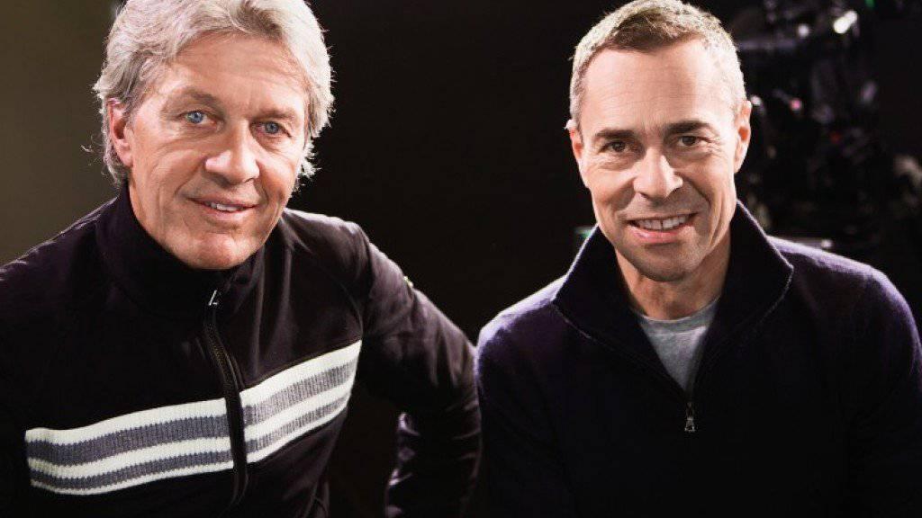 Das passt nicht nur beruflich: Bernhard Russi (links) und Matthias Hüppi mögen sich auch privat. (Pressebild SRF)