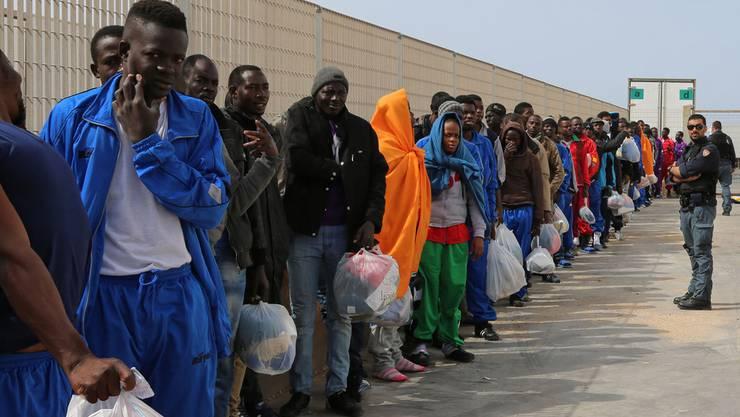 Migranten auf der italienischen Insel Lampedusa.