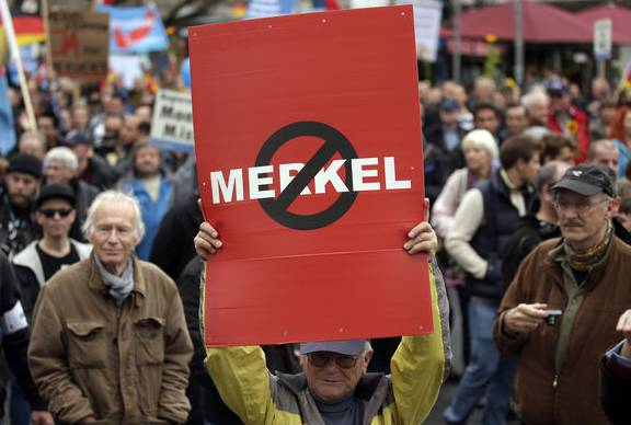 Protest der AfD in Berlin, 2015.