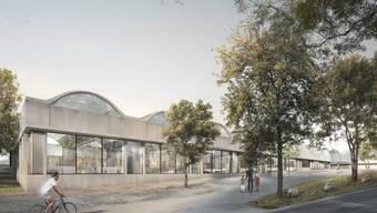 So wird die Berner Schwimmhalle gemäss einer Visualisierung der Architekten aussehen.