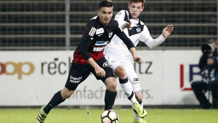 Denis Markaj (L, Aarau) gegen Lorenzo Rosseti (R, Lugano).
