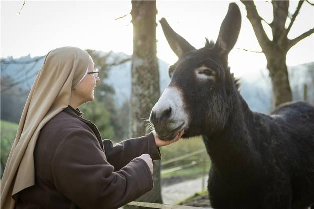 Schwester Johanna hat wie ihre beiden Mitschwestern grosse Freude an Tieren. Diese erhalten zu Weihnachten eine besondere Leckerei.
