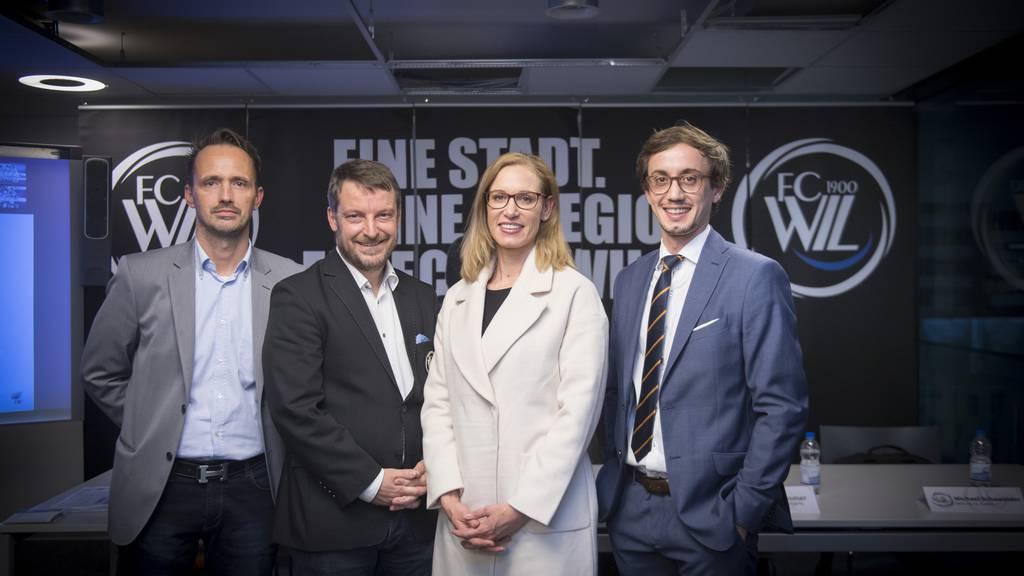 Der neue Verwaltungsrat des FC Wil: Mit Marc Aurel Weimann, Maurice Weber, Bettina Osterwalder und Artan Sadiku. Auf dem Bild fehlt Thomas Hengartner