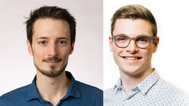 """Die Studenten Cédric Neukom und Manuel Suter (v.l.) haben die App """"BadiReservation.ch"""" lanciert."""