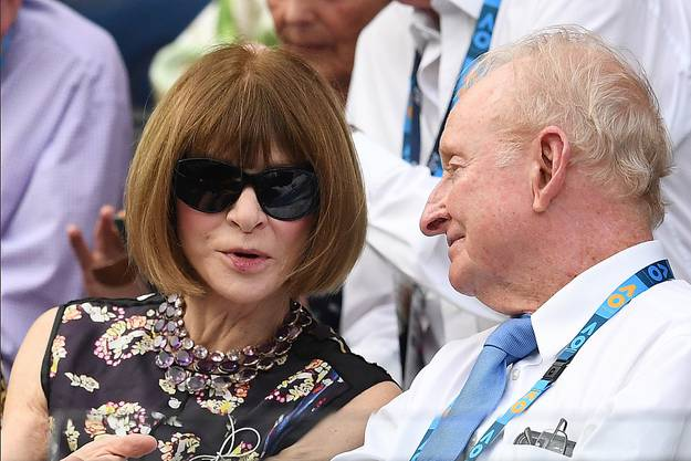 Freundin und Mode-Beraterin: «Vogue»-Chefredaktorin Anna Wintour, hier mit Tennis-Legende Rod Laver am Australian Open.