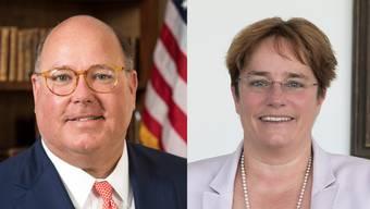 Ed McMullen, US-Botschafter für die Schweiz und Liechtenstein (links) und Magdalena Martullo-Blocher, die einen Freihandelsvertrag ohne Landwirtschaft fordert.