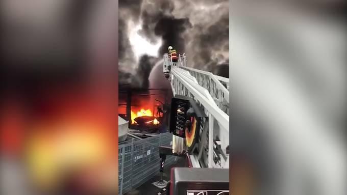 Grossbrand in Lachen SZ: Bootswerft am Zürichsee zerstört