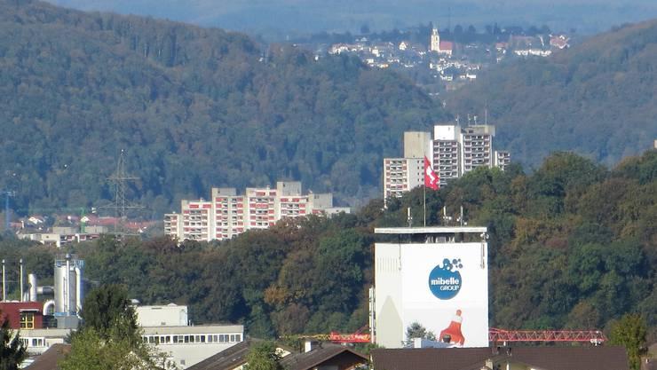 Frenkendorf BL    Kaiseraugst AG und Eichsel (Südbaden)  der Blick von Frenkendorf im Rüttimattquartier