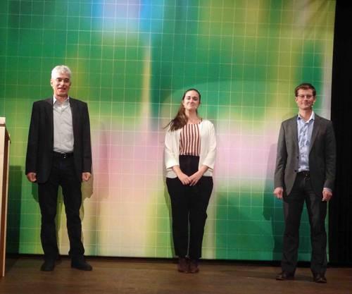 Martin Sennhauser (li) mit den Refernten Tom Kober vom Paul Scherrer Institut (re) sowie Liliane Ableitner Co-Founder und CEO Exnaton AG (Mitte).