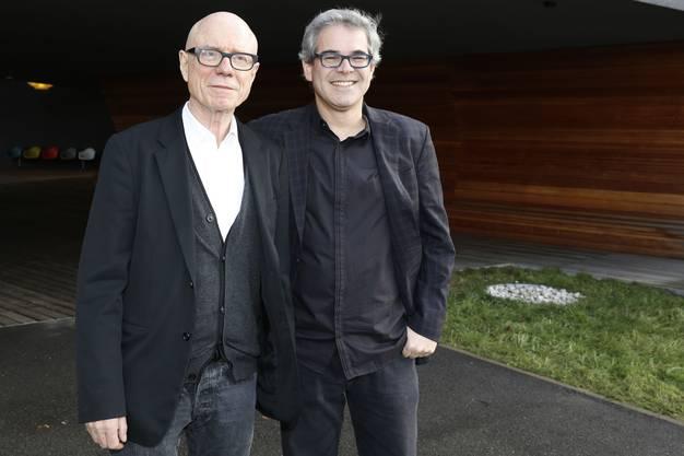 Vitra-Eigentuemer Rolf Fehlbaum (li) und Eames Demetrios, Neffe von Ray und Charles Eames, Vitra Design Museum Weil am Rhein (D)