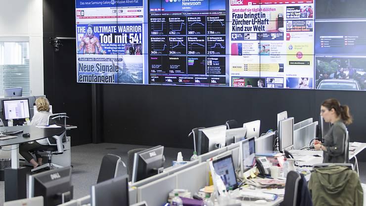 Der News-Room der Blick-Gruppe wird in den nächsten Monaten umgebaut. Es werden Studios für den Einsteig ins TV-Geschäft eingerichtet. (Archivbild)