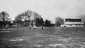 Das erste FCB-Training überhaupt auf dem Landhof-Areal.