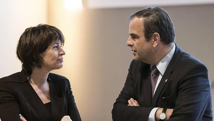 Die abtretende Bundesrätin Doris Leuthard und Parteipräsident Gerhard Pfister. (Archivbild)