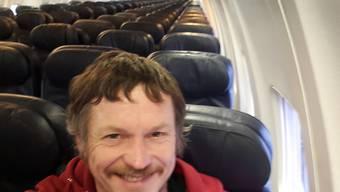 Skirmantas Strimaitis hat ein Selfie geschossen: Er war der einzige Passagier einer 188-plätzigen Boeing 737-800 auf dem Flug von Vilnius nach Bergamo.  (Skirmantas Strimaitis via AP)