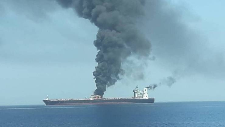 epa07645178 A handout photo made available by Iran's official state TV (IRIB) allegedly shows the crude oil tanker Front Altair on fire in the Gulf of Oman, 13 June 2019. According to the Norwegian Maritime Authority, the Front Altair is currently on fire in the Gulf of Oman after allegedly being attacked and in the early morning of 13 June between the UAE and Iran. EPA/IRIB NEWS HANDOUT BEST QUALITY AVAILABLE. MANDATORY CREDIT. HANDOUT EDITORIAL USE ONLY/NO SALES