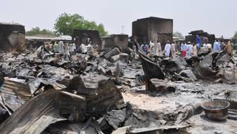 Bild der Zerstörung eines früheren Boko-Haram-Angriffs in Nigeria