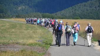 Für sie gibt es kein Ziwschenstopp in der Blauen Reben mehr: Wanderer auf dem Weg zum Blauenpass. (Archiv)