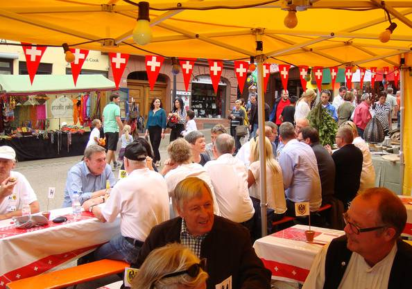 So präsentierte sich die Brugger Festbeiz am Samstagnachmittag am Stadtfest Rottweil