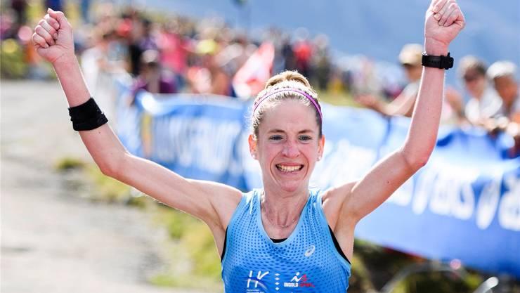 Die Berglauf-Spezialistin Martina Strähl holte 2016 diverse Titel. Im September stellte die Oekingerin beim Jungfrau-Marathon einen Streckenrekord auf (Bild).