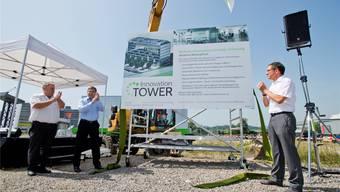Franz Grüter, Green-CEO zum Baustart des Innovation Tower in Lupfig