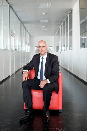 Bundesrat Alain Berset vergangene Woche bei seinem Besuch im AZ Mediencenter in Aarau.