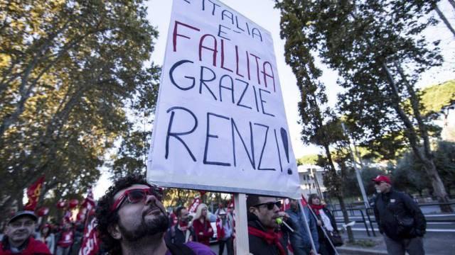 Szene der Kundgebung am Samstag in Rom