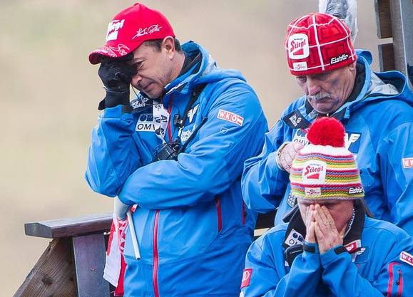 Beten beim österreichischen Team nach dem Sturz