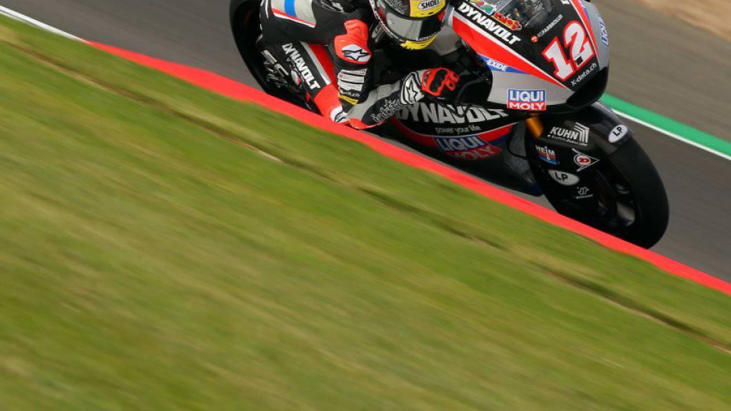 Tom Lüthi am ersten Trainingstag auf dem Circuit von Silverstone