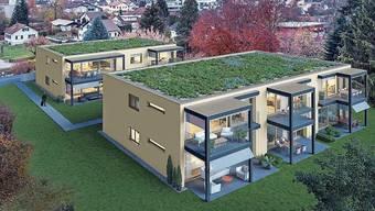 So werden die Wohnbauten nach dem Sommer aussehen. So viel war bis gestern Mittag bereits gebaut.
