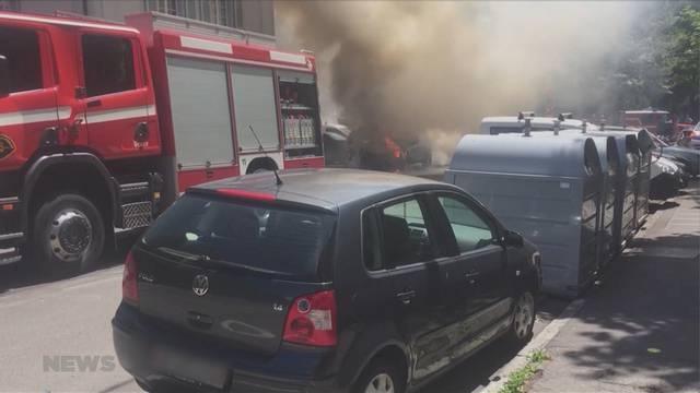 Autobrand an Berner Brunnmattstrasse
