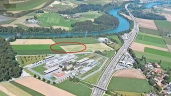Der Kreis zeigt den Standort des geplanten Zentralgefängnisses, nördlich der bestehenden Justizvollzugsanstalt im Schachen. (Archivbild)