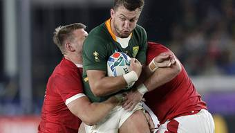 Ein Bild mit Symbolcharakter. Der Südafrikaner Handré Pollard setzt sich gegen zwei Spieler aus Wales durch.