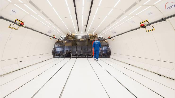 In diesem Airbus A310 flog einst die deutsche Bundeskanzlerin Angela Merkel durch die Welt. Nach einem Umbau kann darin nun Schwerelosigkeit simuliert werden. Key