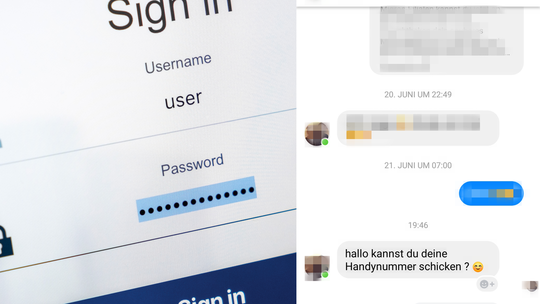 Mit gehackten Profilen versuchen Unbekannte, an die Handynummern von Bekannten des Gehackten zu kommen.