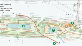 Nebst der Betriebszentrale (3) soll die Kanalinsel am Ort des alten Werkhofes neu gestaltet werden. Ibaarau
