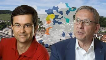 René Roca, Vizeammann von Oberrohrdorf, ist ein Fusionskritiker, Regierungsrat Hofmann sieht Vorteile bei Zusammenschlüssen.