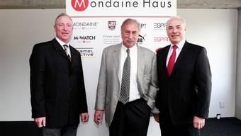 Offizielle Eröffnung des Mondaine Hauses: v.l.: Andre Bernheim, Dr. Ernst Thomke, Ronnie Bernheim