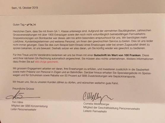 Dieses Schreiben haben Besitzer eines Generalabos in den letzten Tagen von den SBB erhalten.