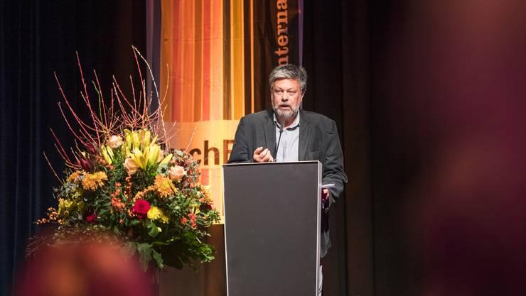 Der russische Erzähler Michail Schischkin an seiner Eröffnungsrede am Freitagabend: «Die Literatur hat versagt.»